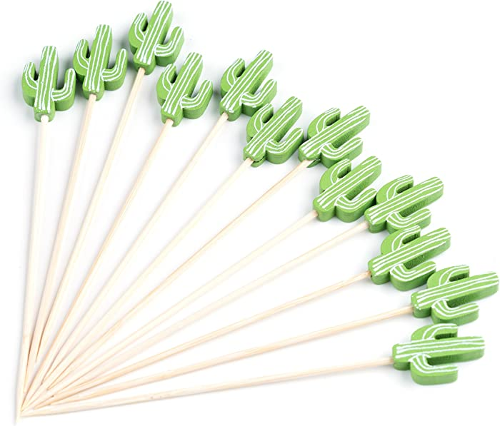 "PuTwo Cocktail Picks Handmade Bamboo Toothpicks 100pcs 4.7"" in Green Cacti"