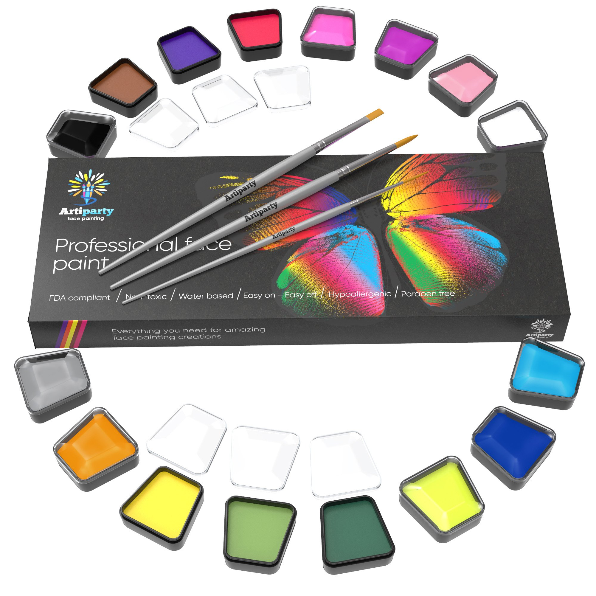 Face Paint Set – Make Up Paint – Premium Adults & Kids Face Painting Kit – Paints More Than 120 Faces – Non-Toxic & Hypoallergenic – Easy to Apply & Remove
