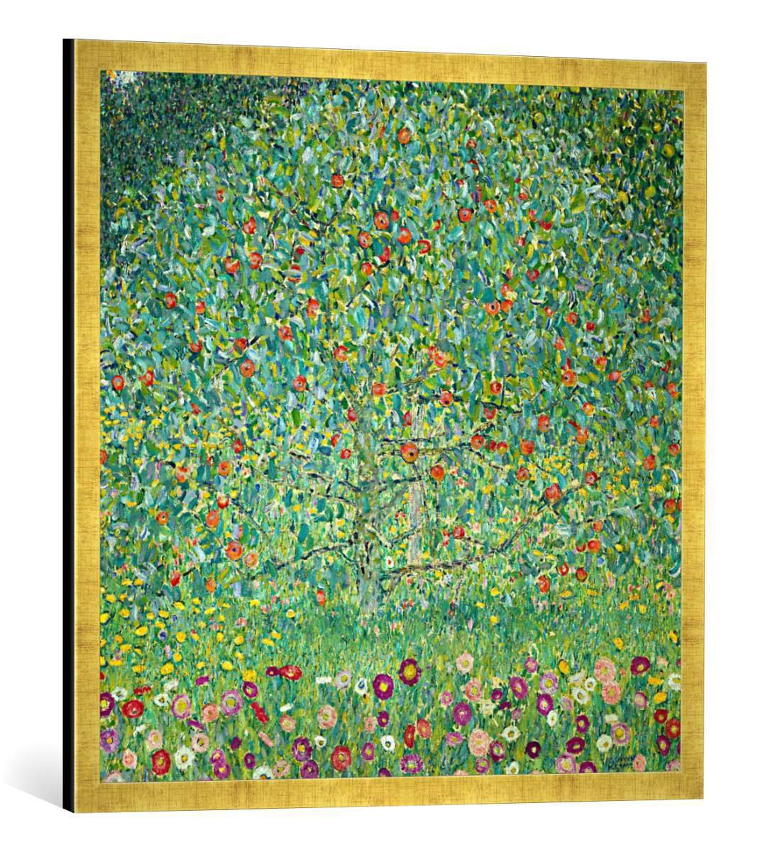 Gerahmtes Bild von Gustav Klimt Apfelbaum I, Kunstdruck im hochwertigen handgefertigten Bilder-Rahmen, 70x70 cm, Gold Raya