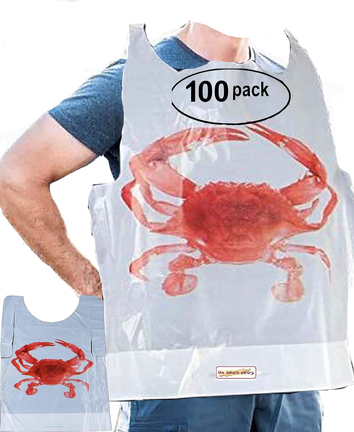 pack of 100 Party Supply Crab Bibs Seafood Feast Adult Disposable Bibs Protect Clothes from Spills Plastic Bibs disposable bibs for adults Size: 20