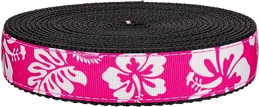 5 Yards Country Brook Design® 1 Inch Purple Hawaiian on Black Nylon Webbing