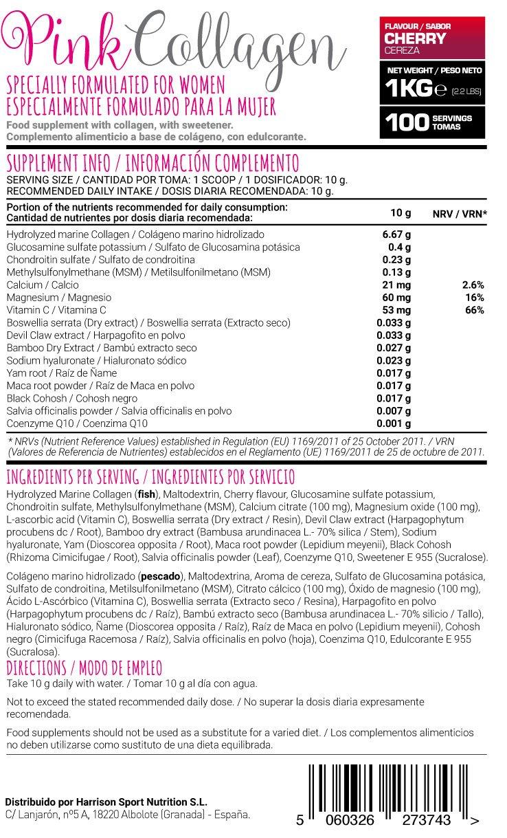 HSN Pink - Colágeno Marino Hidrolizado Especial Mujer - Con Magnesio, Vitamina C, Extractos Herbales - En Polvo- Sabor Cereza - 1000 gr: Amazon.es: Salud y ...