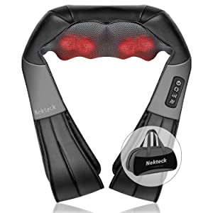 Shiatsu Neck and Back Massager with Soothing Heat, Nekteck Electric Deep Tissue 3D Kneading Massage Pillow for Shoulder, Leg, Body Muscle Pain Relief, Home, Office, and Car Use (Black)