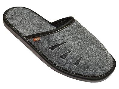 BeComfy chaussures en feutre avec des semelles en caoutchouc pantoufles  gris noir Modèle FM71 (40