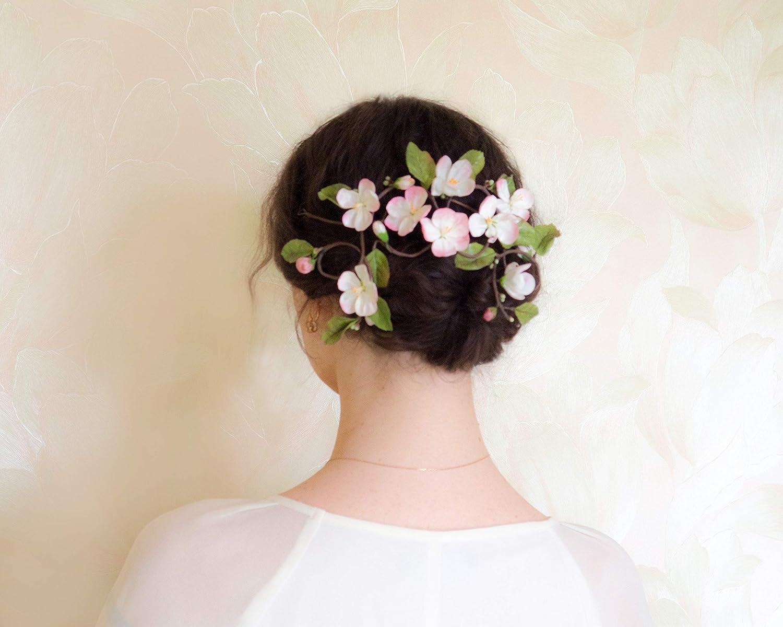 Amazon Com Bridal Floral Hair Vine With Apple Blossom