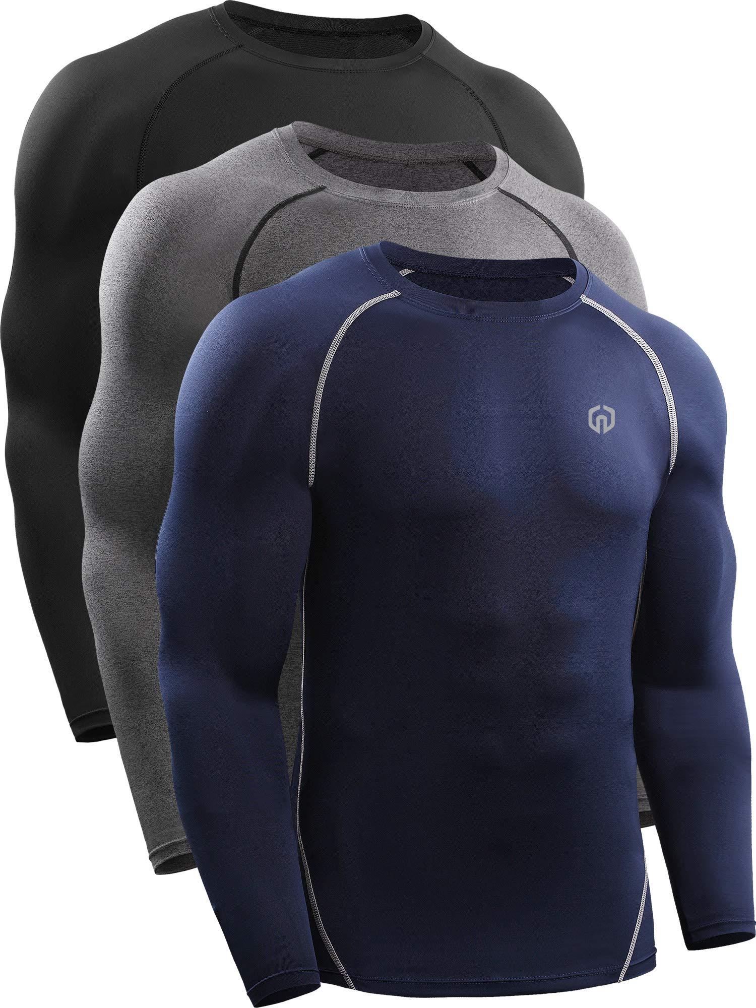 Neleus Men's 3 Pack Workout Compression Long Sleeve Shirts,5035,Black,Grey,Navy Blue,US M,EU L by Neleus