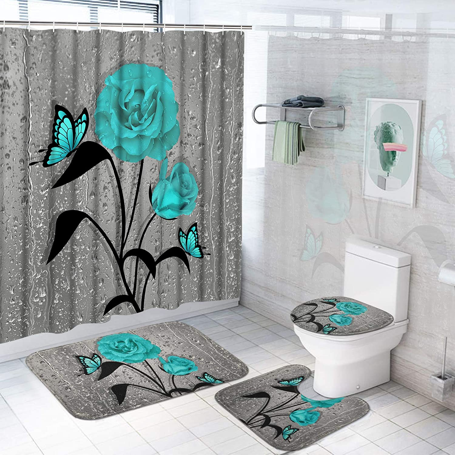 TAMOC 4 Pcs Teal Gray Rose Shower Curtain Sets with Non-Slip Rug, Toilet Lid Cover and Bath Mat, Blue Rose Shower Curtain with 12 Hooks, Waterproof Raindrops Shower Curtain for Bathroom