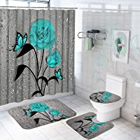 TAMOC 4 Pcs Teal Gray Rose Shower Curtain Sets with Non-Slip Rug, Toilet Lid Cover and Bath Mat, Blue Rose Shower…
