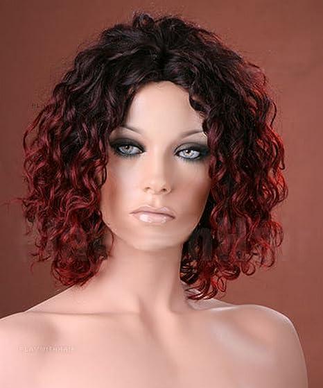Peluca para mujer Forever Young tamaño mediano con diseño de rizos color burdeos y negro