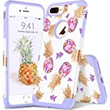 YINLAI iPhone 8 Plus Case, iPhone 8 Plus Floral Case Dual Layer Slim Hybrid Soft TPU Bumper Hard PC Leather Cover with Flowers Pattern Shockproof Protective Phone Cases for Girls iPhone 8 Plus
