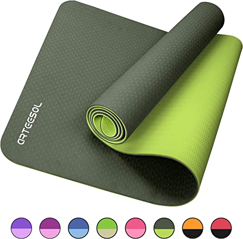 arteesol Yoga Mat, Eco-Friendly TPE Exercise Mats Non-Slip Pilates Mat with Carrying Strap for Yoga, Workout, Core Fitness and Floor Exercises, Men Women 72 L x 24 W x 1 4 Inch Thick
