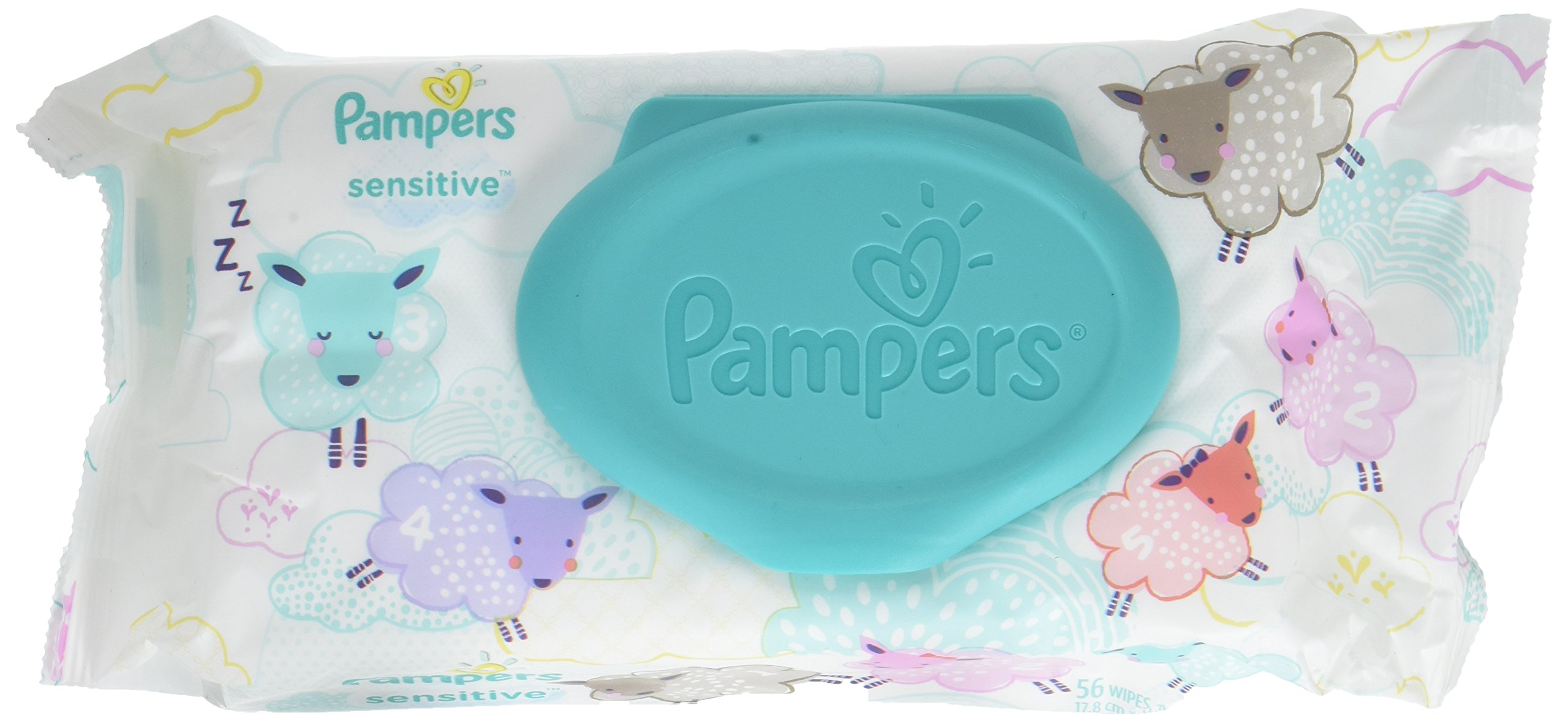 Pampers Sensitive Wipes Travel Pack 56 Count (Pack of 4)