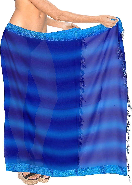 LA LEELA Womens Plus Size Beach Sarong Cover Up Swimwear Wrap Pareo Full Long A
