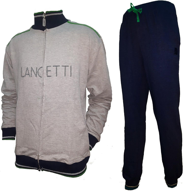 LF411 lancetti Tuta Uomo Cotone Full Zip Homewear Sport e Tempo Libero Art