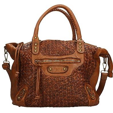 Chicca Borse Sac à main femme Vintage En cuir tressé authentique Made in Italy 36x27x13 Cm