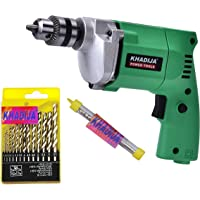 Khadija Hi Max Powerful Simple Electric Drill Machine 10Mm With Free 13Pcs Hss Drill Bits & 1Pc Masonary Bit Combo