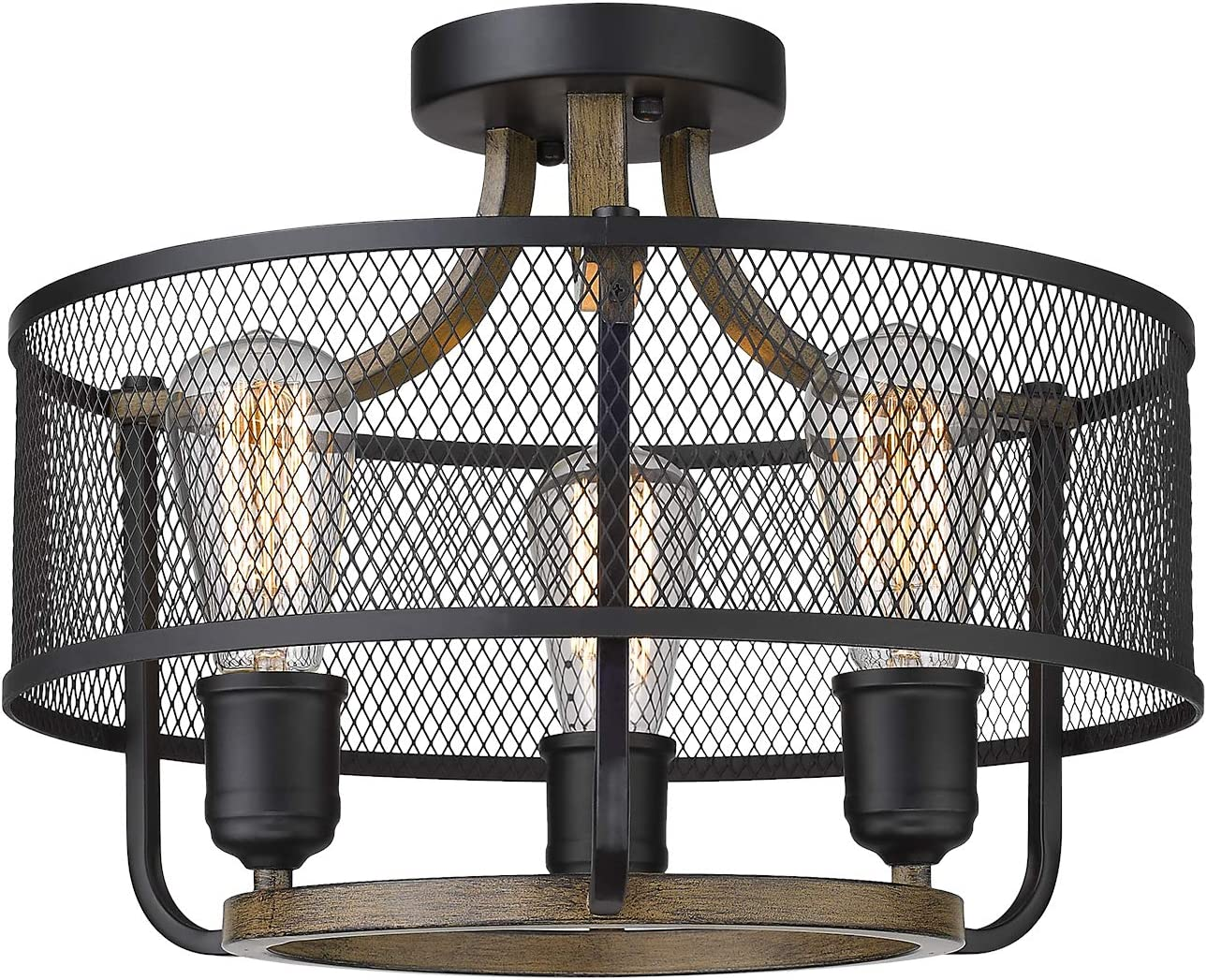 Osimir 3-Light Semi-Flush Mount Ceiling Light, Industrial Ceiling Fixture in Matte Black & Wooden Finish, Round Ceiling Light Fixture for Bedroom, Living Room, Dining Room RE9166-3