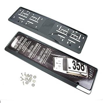 BLACK CHROME Kennzeichen der Gr/ö/ße 520mm x 110mm Nummernschildhalter Kennzeichenrahmen INOX V2A 2x Premium Auto Kennzeichenhalter 100/% EDELSTAHL SCHWARZ poliert f/ür DEUTSCHLAND und EU