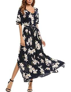 b77bb66e960e Hufcor Women's Bohemian Chiffon Short Sleeve Floral Print Maxi Dress