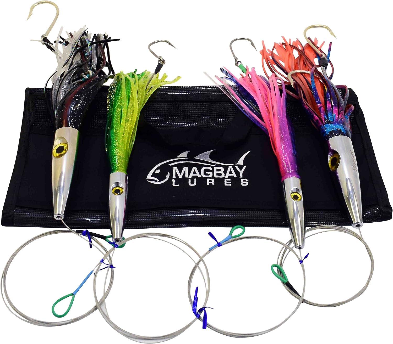 "Game Fishing Trolling Lures Rigged Kit 6/"" Skirted Marlin Tuna Kingfish Wahoo Rig"