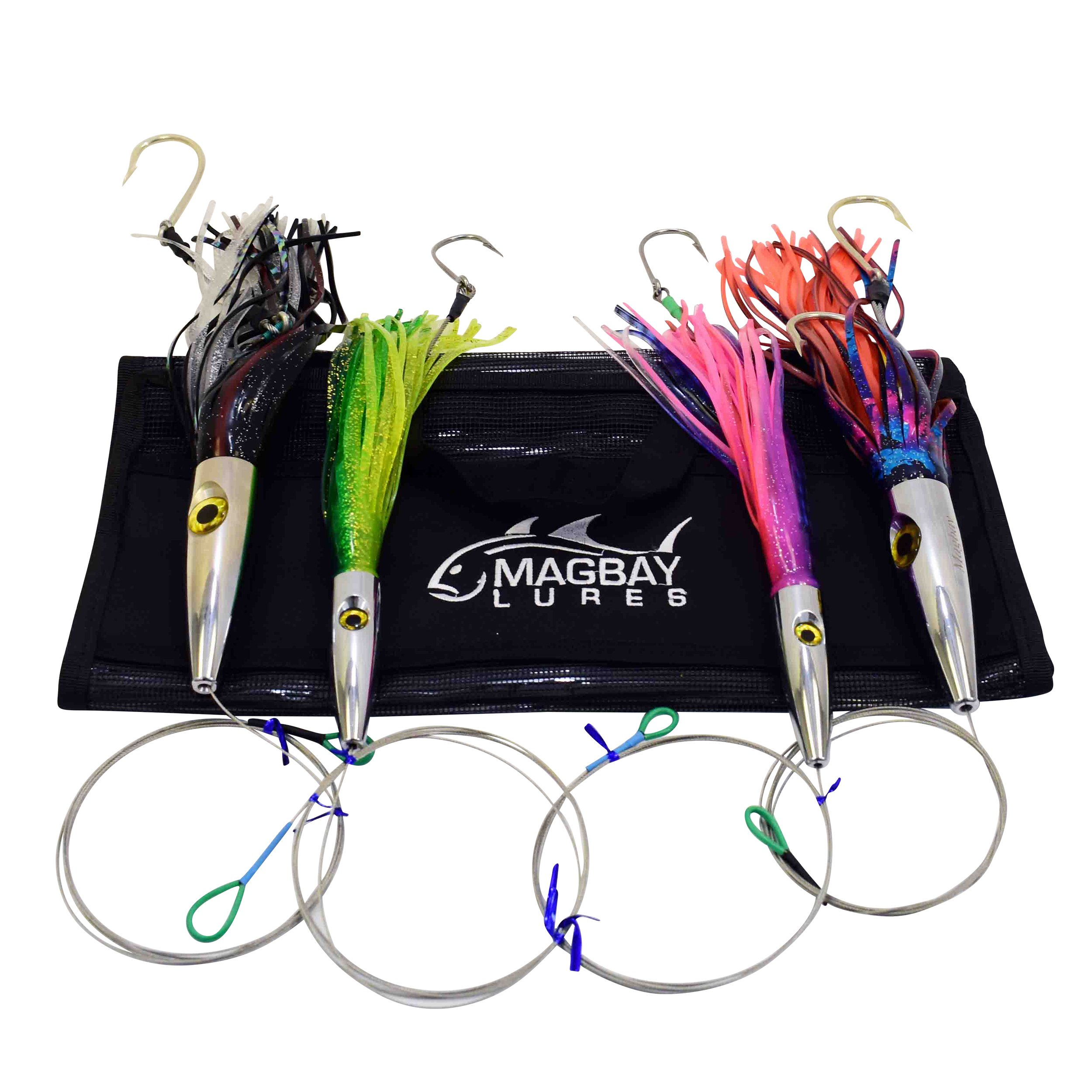 High Speed WAHOO Trolling Set with Lure Bag + Fully Wire and Cable Rigged by MagBay Lures