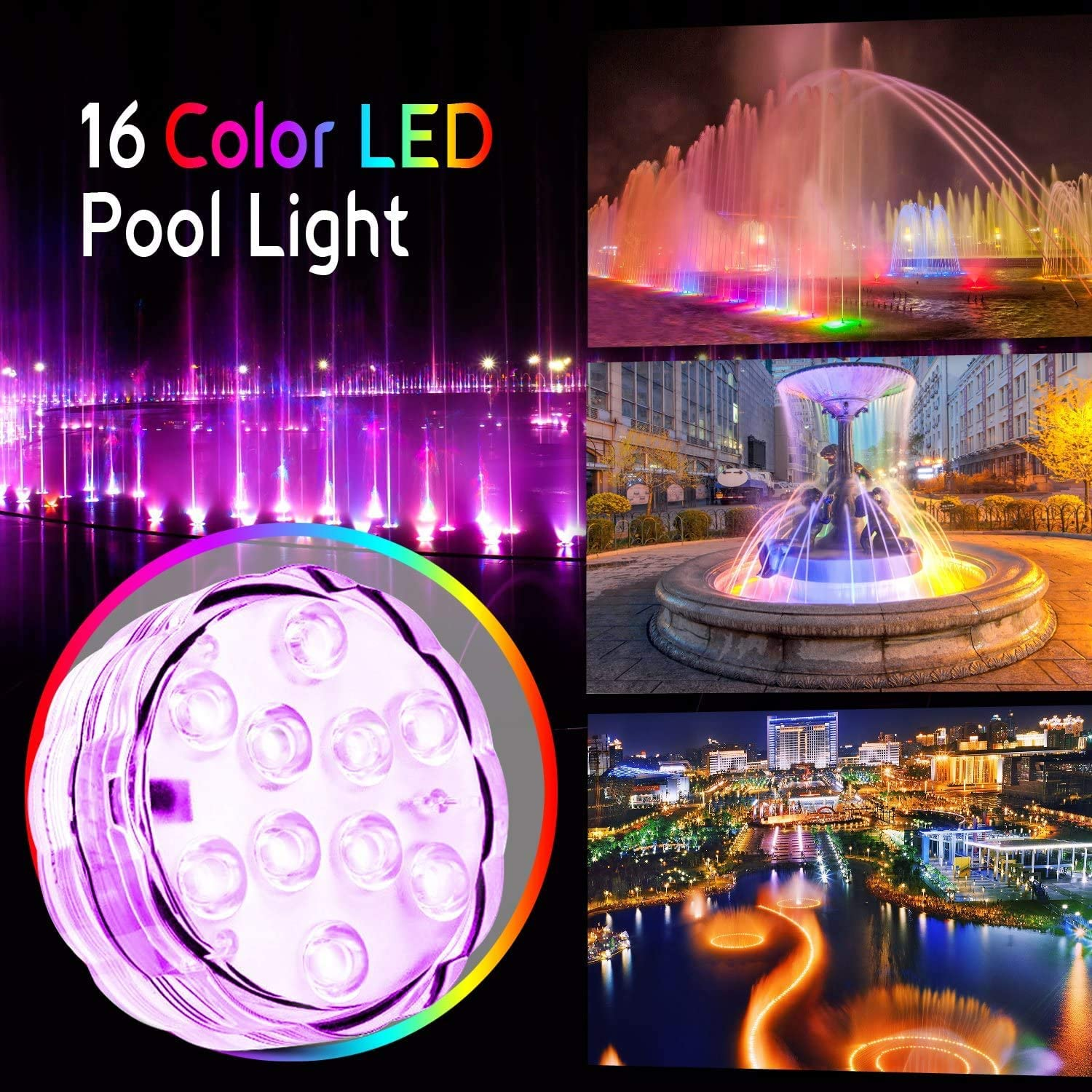 Pool Vase Party hanstend Swiming Pool LED Light with Remote,4Packs Underwater Fountain Lights Submersible Led Lights for Aquarium Base Wedding Pond Garden Hot Tub