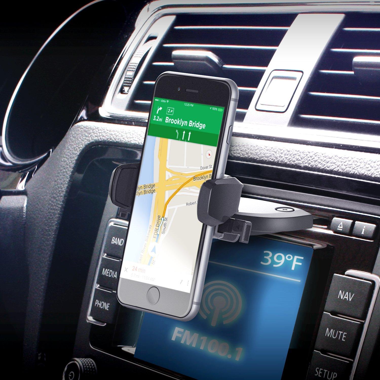 iOttie Easy One Touch Mini CD Slot Car Mount Holder Cradle for iPhone X 8/8 Plus 7 7 Plus 6s Plus 6s 6 SE Samsung Galaxy S8 Plus S8 Edge S7 S6 Note 8 5 Nexus 6