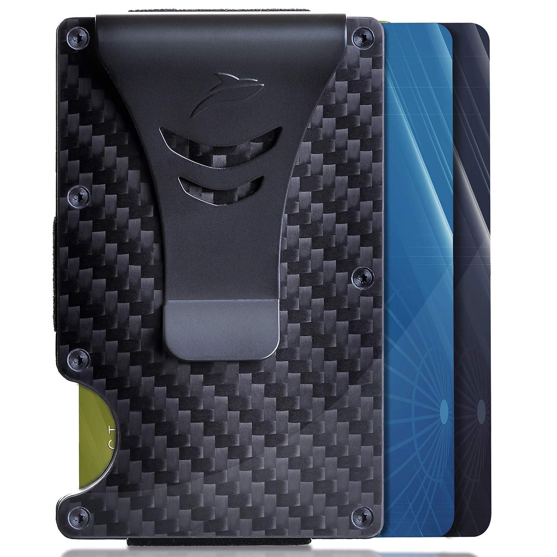 Minimalist Carbon Fiber Slim Wallet RFID Blocking Card Holder with Money Clip