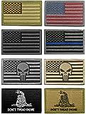WZT Bundle 8 Pieces American Flag Tactical Morale Military Patch Set