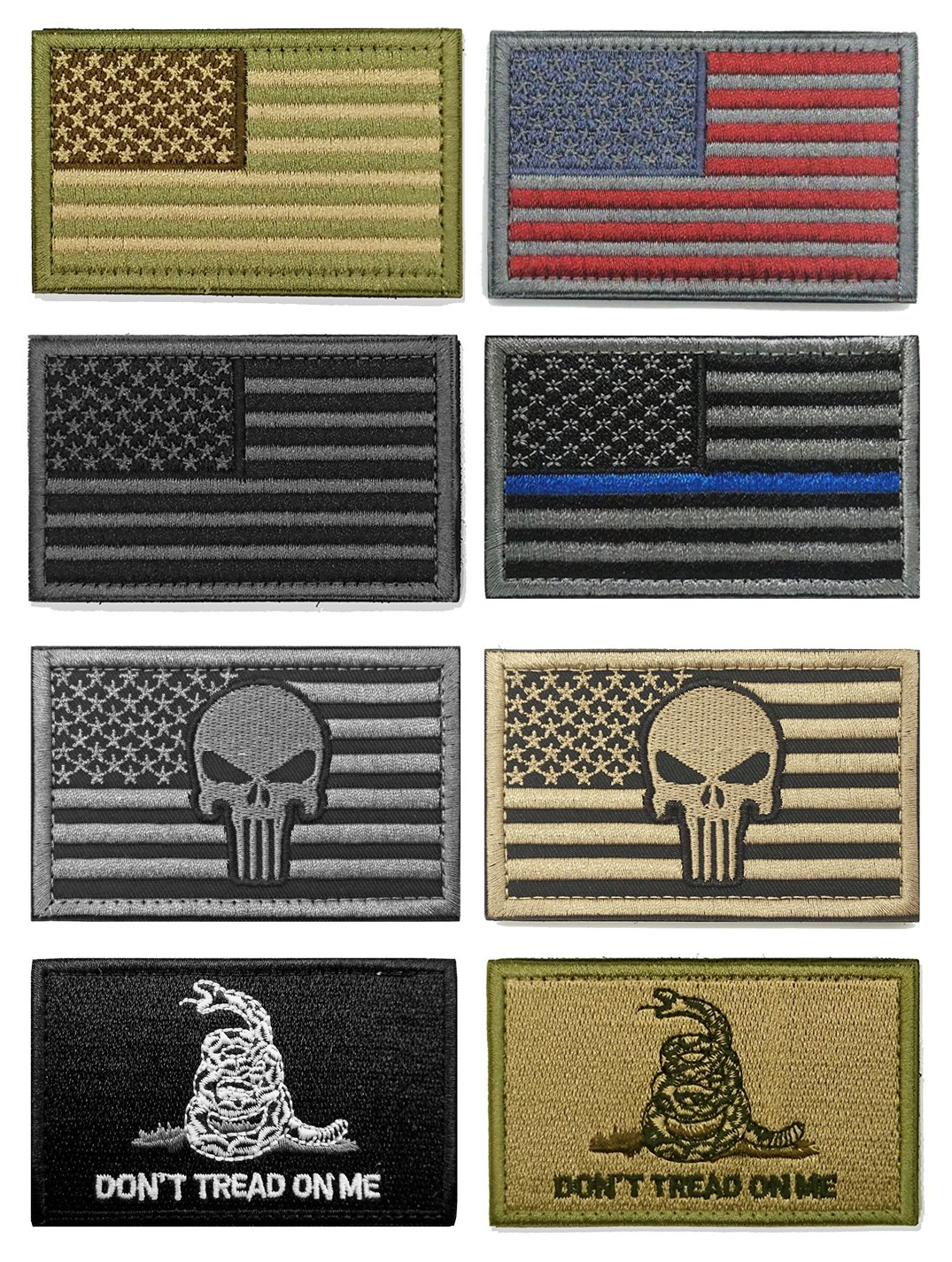 WZT Bundle 8 pieces american flag Tactical Military Morale Patch Set