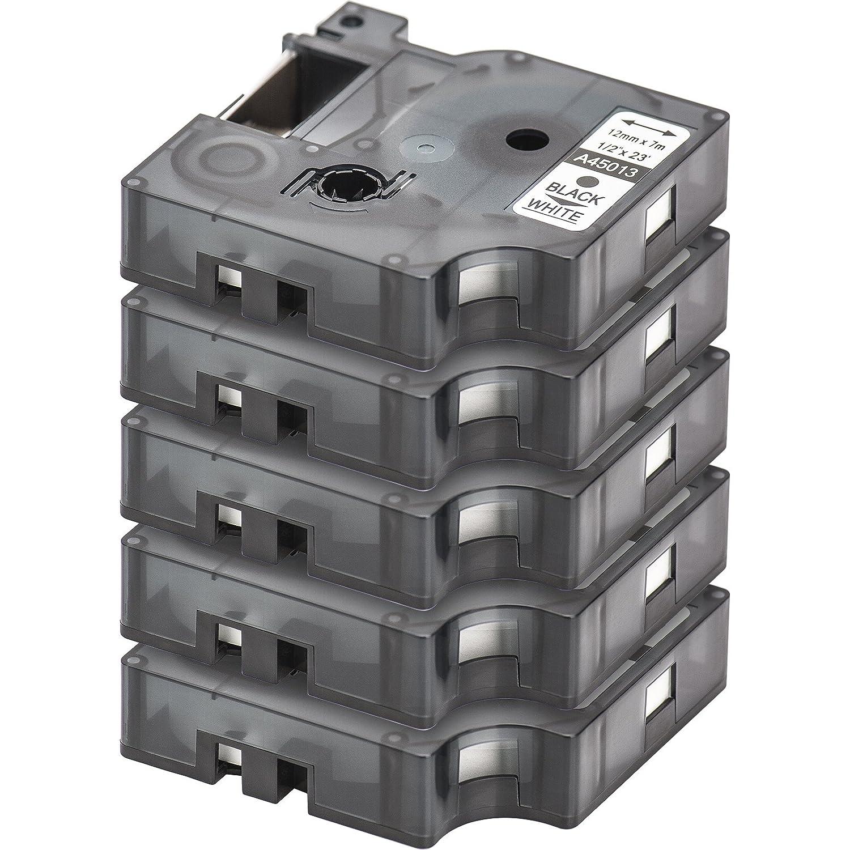 5x Ruban pour Etiqueteuse Compatible remplace DYMO D1 45013 | Noir sur Blanc / 12mm x 7m | pour DYMO LabelPOINT & LabelManager LM100 / LM120P / LM150 / LM160 / LMPC2 / LM200 / LM210D / LM220P / LM260 / LM280 / LM300 / LM350 / LM400 / LM260P / LM350D /