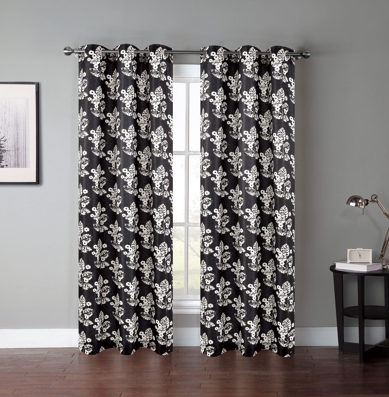 Amazon.com: Pair Of Atlantis Black/Gray/Ivory Window Curtain Panels  W/Grommets: Home U0026 Kitchen