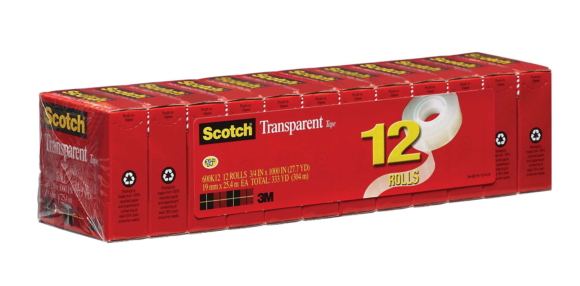 Scotch Brand Transparent Tape, Standard Width, Great Value, Glossy Finish, Cuts Cleanly, Engineered for Office and Home Use, 3/4 x 1000 Inches, Boxed, 12 Rolls (600K12)
