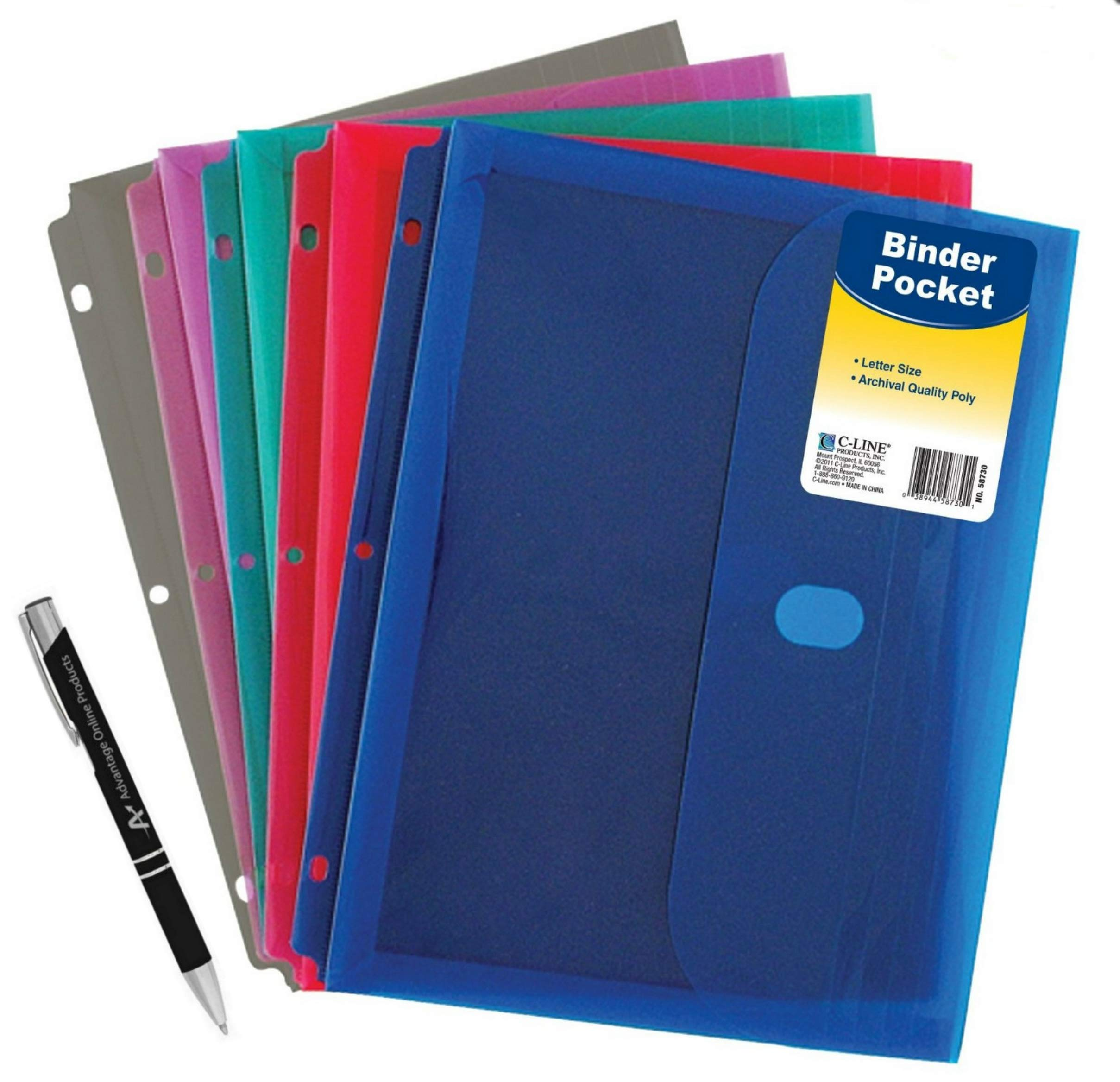 5 Pack Poly Binder Pocket with Hook and Loop Closure, 1-Inch Gusset, Letter Size, Assorted Colors (58730) with Custom Advantage Retractable Chrome and Black Pen