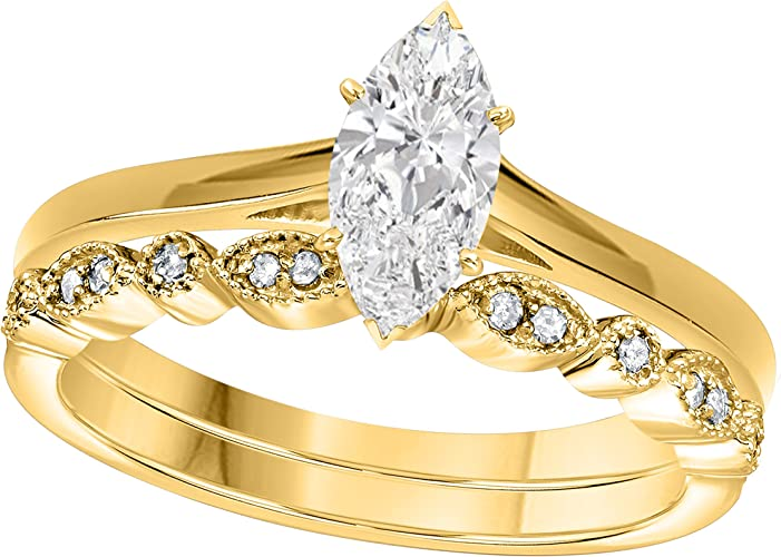 Yellow Gold Plated Alloy CZ white Solitaire Ring For Engagement