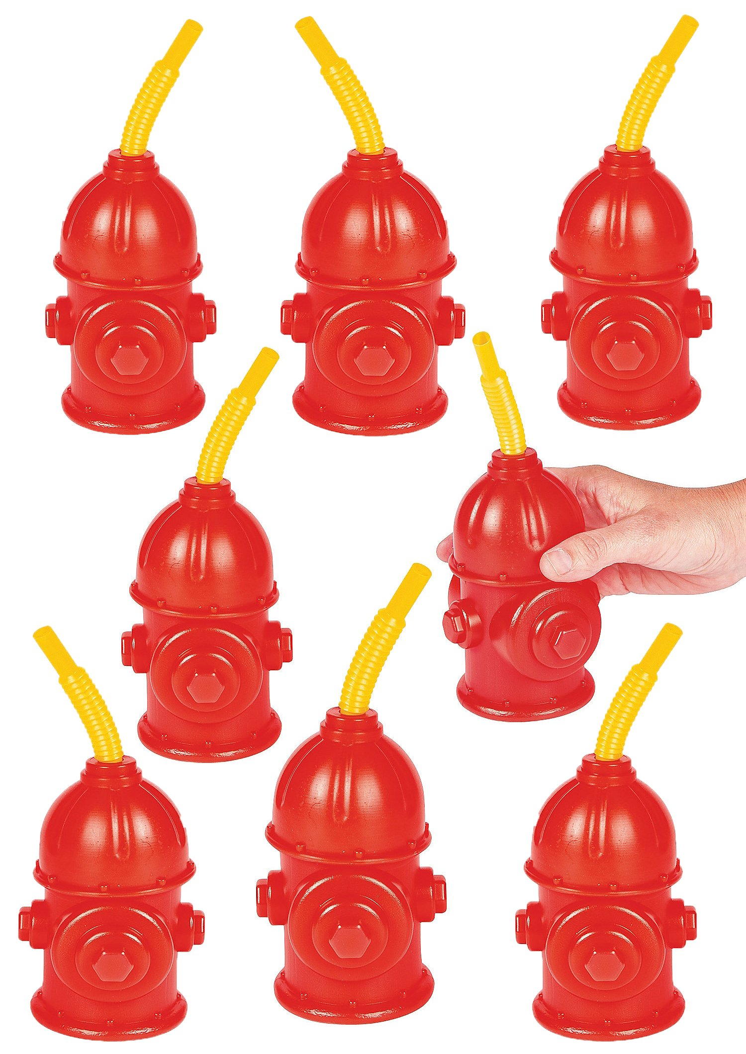Firefighter Birthday Party Favors Supplies For Kids - Pack of 8 - Fire Hydrant Cups With Straws Reusable Plastic Fireman Cups 4'' x 5 1/2'' With 8'' Straws, Holds 9 Oz. By 4E's Novelty by 4E's Novelty