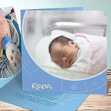 Baby Geburtskarte 5 Stück Sternzeichen Krebs Tierkreis 2fach ...