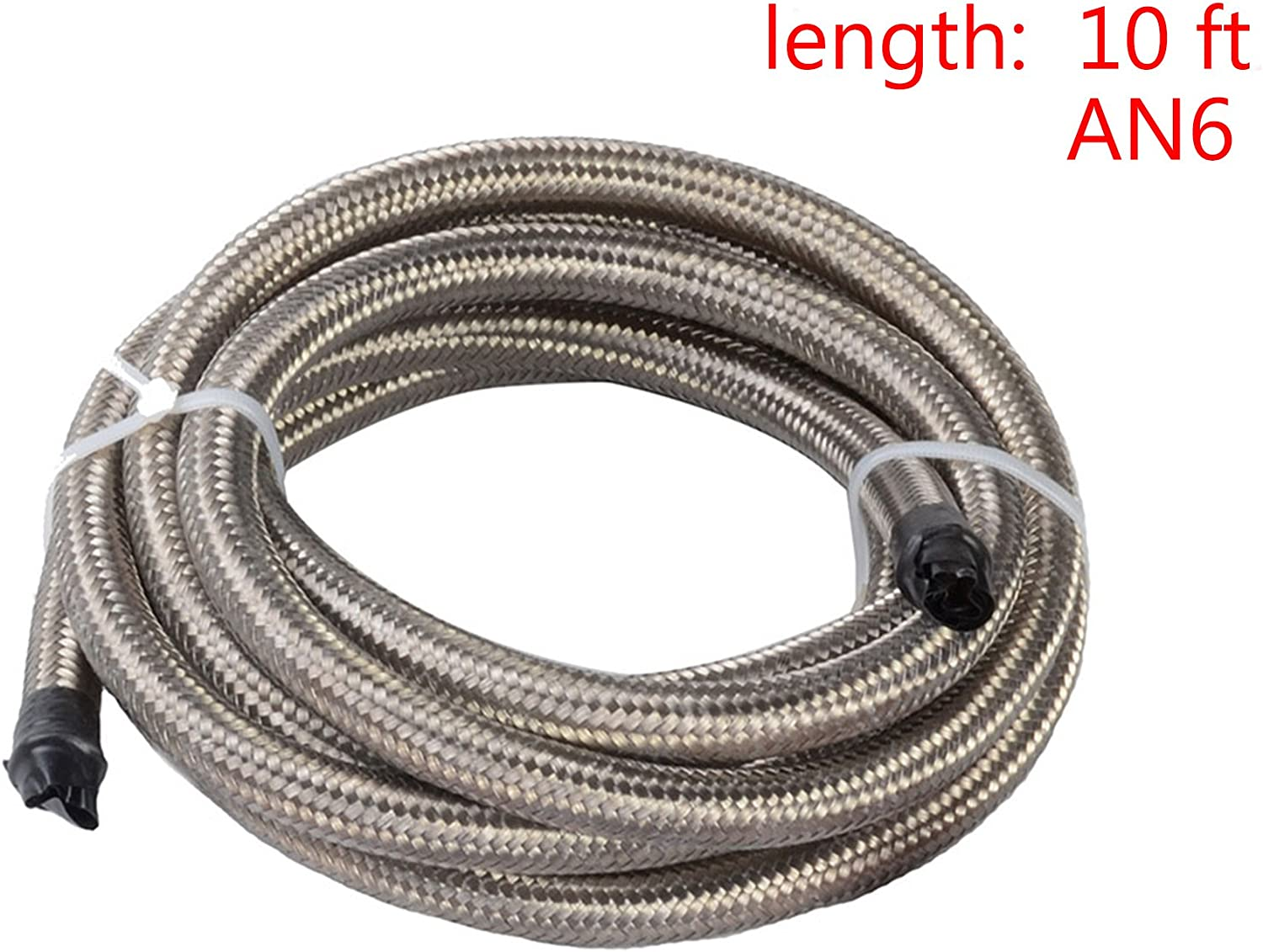 EVIL ENERGY 10FT 6AN 5//16 ID Stainless Steel Braided 8.71MM CPE Tube Fuel Injection Oil Hose Line Kit Silver