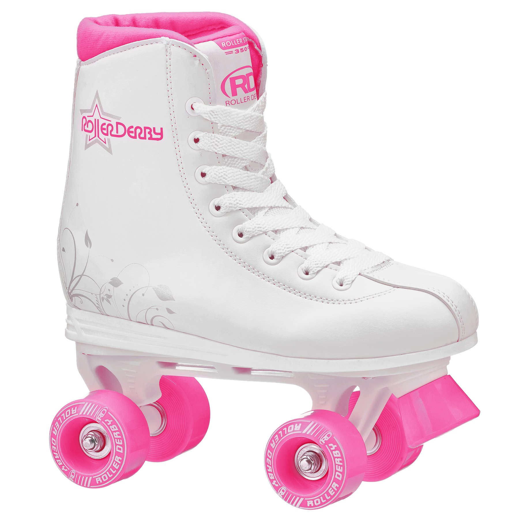 Roller Derby U324G-03 Girls Roller Star 350 Quad Skate, Size 3, White/Pink