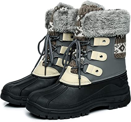 Amazon.com   Faivykyd Women's Knit Snow Duck Boots, Faux Fur Waterproof Winter  Boots for Women, Lace Up Mid-Calf Leather Boots for Outdoor   Snow Boots