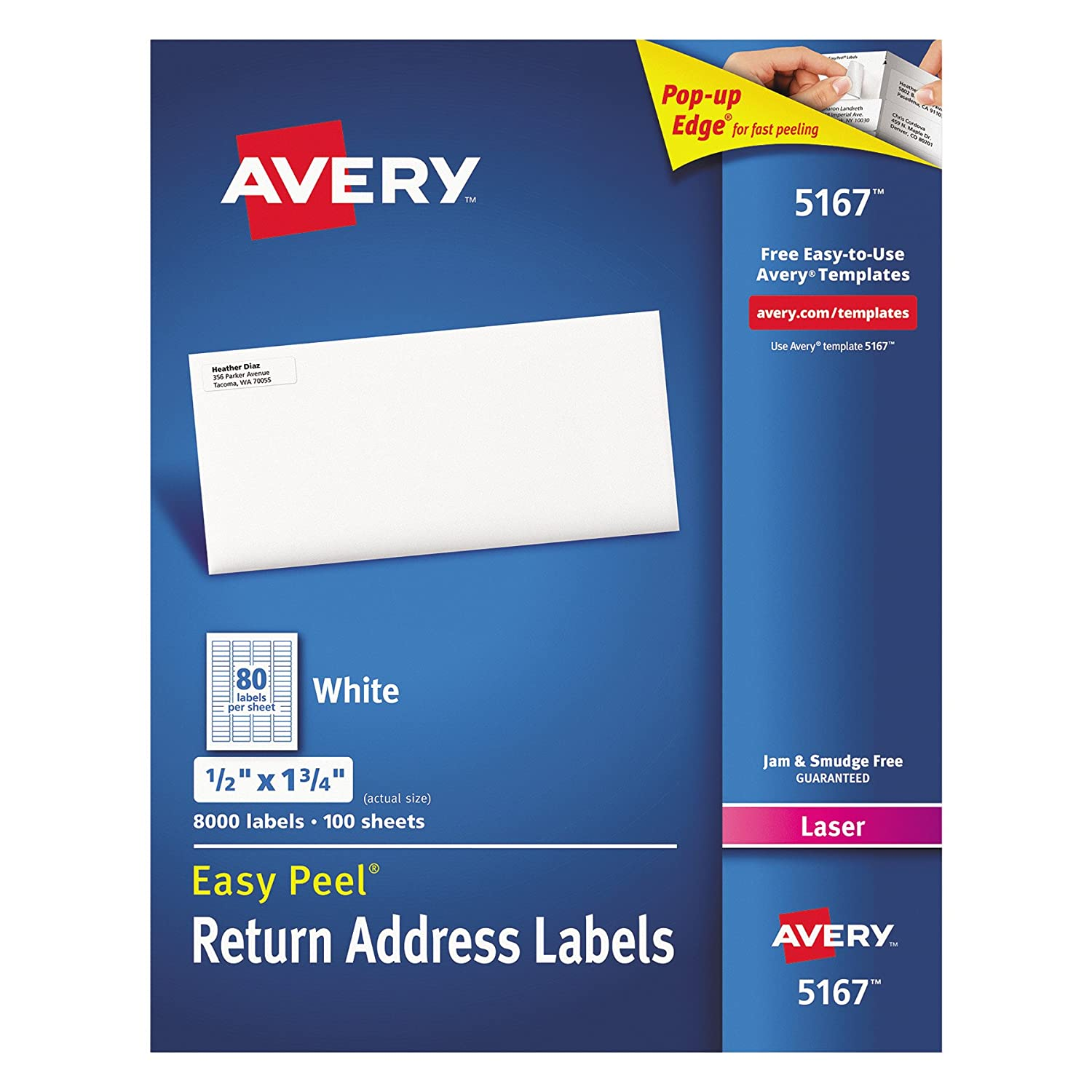 Amazon avery easy peel return address labels permanent amazon avery easy peel return address labels permanent adhesive 12 x 1 34 8 000 labels 5167 office products saigontimesfo