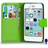 Apple iPhone 5C - Premium Leather GREEN Wallet Flip Case Cover Pouch with Mini Touch Stylus Pen BLUE Dust Stopper Screen Protector & Polishing Cloth, (WALLET GREEN)
