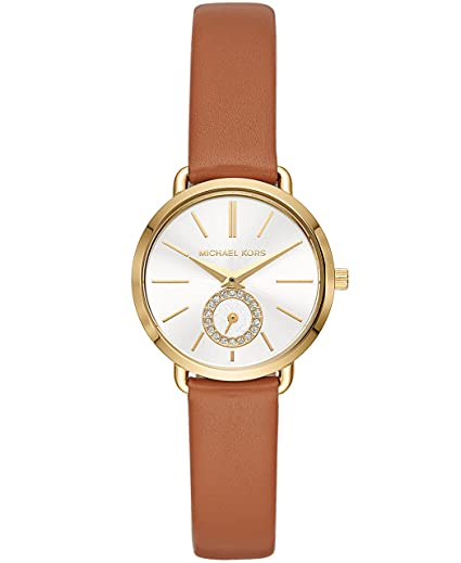 Michael Kors Women's Stainless Steel Quartz Watch with Leather Calfskin Strap, Brown, 12 (Model: MK2734