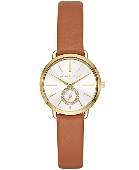 2778edd3785b Amazon.com  Michael Kors Women s Stainless Steel Quartz Watch with Leather  Calfskin Strap
