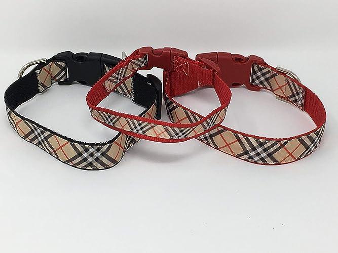 Plaid Dog Collar Puppy Collar Custom Dog Collar Personalized Dog Collar Preppy Collar Tan Plaid Collar Pink Plaid Collar