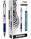 Zebra F-301 Ballpoint Stainless Steel Retractable Pen, Fine Point, 0.7mm, Blue Ink, 12-Count