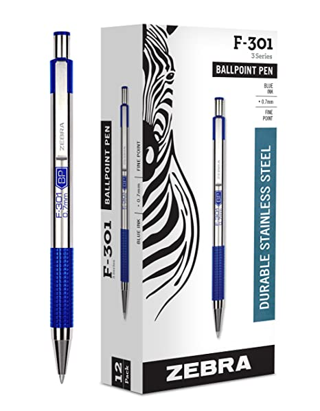 Zebra F-301 Ballpoint Stainless Steel Retractable Pen, Fine Point, 0.7mm,