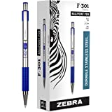 Zebra Pen F-301 Ballpoint Stainless Steel Retractable Pen, Fine Point, 0.7mm, Blue Ink, 12-Count
