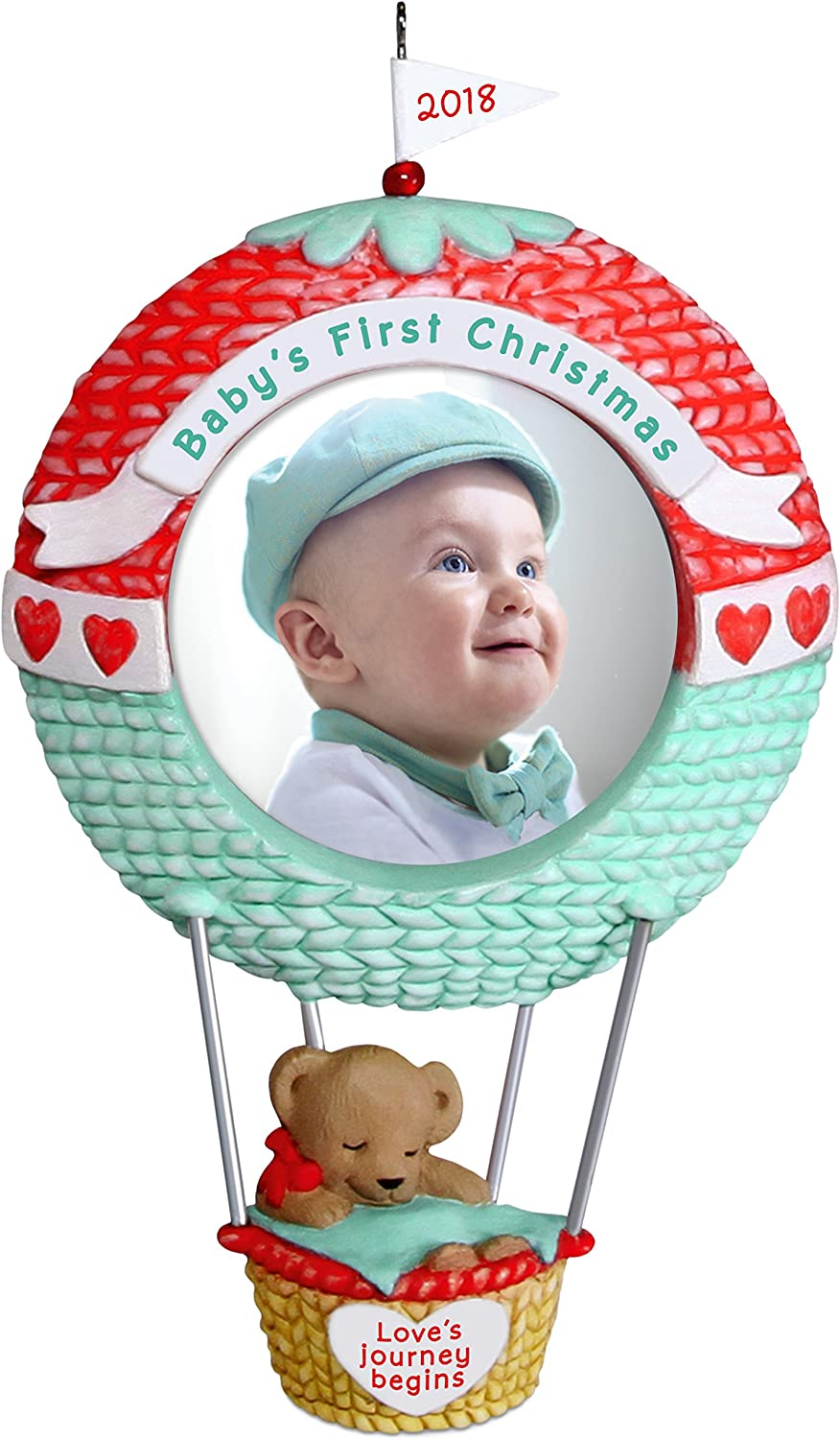 Hallmark Keepsake Ornament 2018 Personalized Year Dated, Baby's First Christmas Love's Journey Begins Picture Frame, Photo, Hot Air Balloon