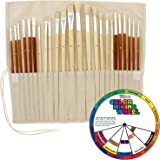 24pc Oil & Acrylic Paint Long Handle Artist Paint Brush Set with FREE Canvas Roll-Up & Color Mixing Wheel